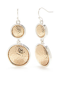 Kim Rogers Two-Tone Hammered Double Drop Earrings