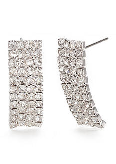 Kim Rogers Silver-Tone Domed Crystal Drop Earrings