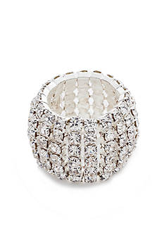 Kim Rogers® Silver-Tone Crystal Stretch Ring