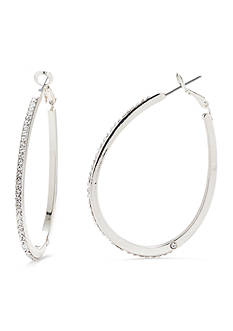 Kim Rogers® Silver-Tone Crystal Teardrop Hoop Earrings