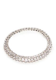 Kim Rogers Silver-Tone with Crystal Three Row Stretch Bracelet