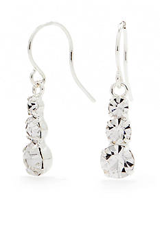 Kim Rogers Silver-Tone with Crystal Drop Earrings