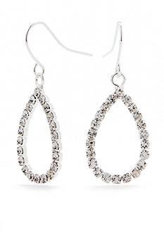 Kim Rogers Silver-Tone with Crystal Teardrop Drop Earrings
