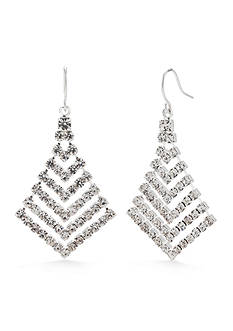 Kim Rogers® Silver-Tone Crystal Graduated Chevron Drop Earrings