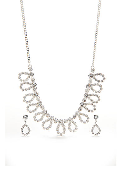 Kim Rogers® Silver-Tone with Crystal Loop Necklace and Earrings Set