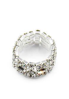 Kim Rogers Silver-Tone Crystal Fancy Stone Stretch Ring