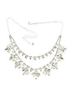 Kim Rogers Silver Two-Row Rhinestone Necklace