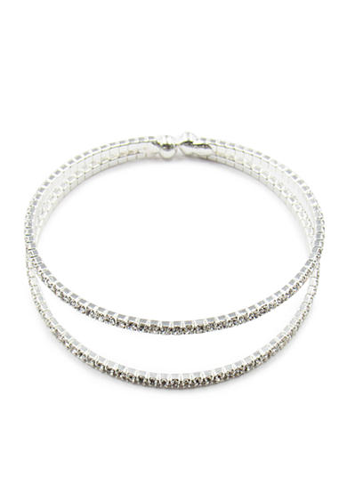 Kim Rogers® Silver-Tone Crystal Double Row Cuff Bracelet