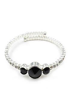 Kim Rogers Silver-tone Black Crystal Coil Bracelet