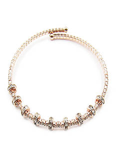 Kim Rogers Rose Gold-Tone Crystal Rondell Coil Bracelet