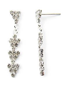 Kim Rogers Silver-Tone Crystal Fancy Stone Drop Earrings