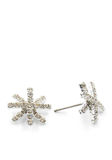 Kim Rogers® Silver-Tone Crystal Starburst Button Earrings