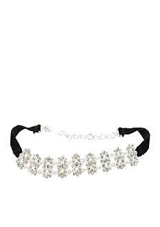 Kim Rogers Silver-Tone Fancy Crystal Choker Necklace