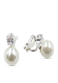 Kim Rogers Silver-Tone Pearl Clip Earrings