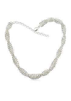 Kim Rogers Silver-Tone Braided Crystal Collar Necklace