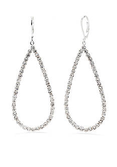 Kim Rogers® Silver-Tone Crystal Teardrop Drop Earrings