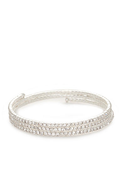 Kim Rogers® Silver-Tone Crystal Three Row Coil Bracelet