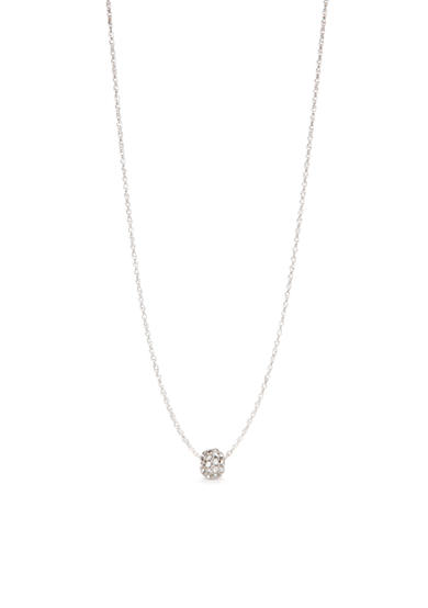 Kim Rogers® Silver-Tone Crystal Single Ball Drop Necklace