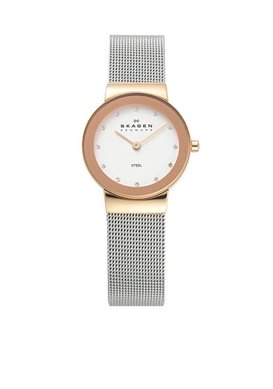 Skagen Silver and Rose Gold Mesh Watch