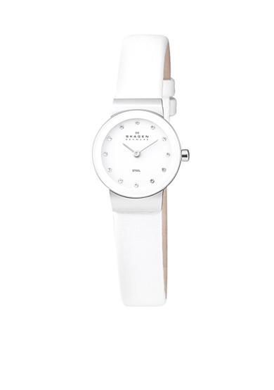Skagen White Leather with Glitz Watch