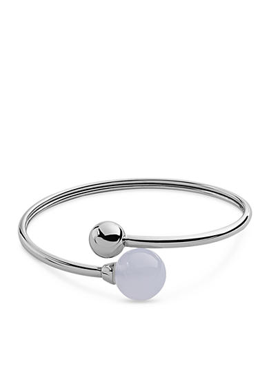 Skagen Silver-Tone Sea Glass and Stainless Steel Bangle Bracelet