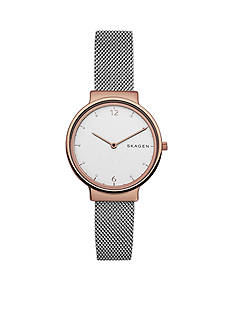 Skagen Ancher Steel-Mesh Watch and Katrine Necklace Box Set