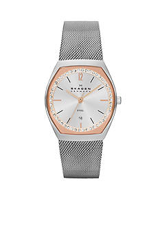 Skagen Women's Silver Mesh Rose Accented Watch