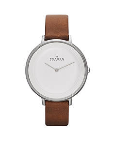 Skagen Women's Ditte Brown Leather Watch