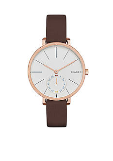 Skagen Women's Hagen Brown Leather Two Hand Watch
