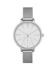 Skagen Ladies Hagen Silver Mesh Two Hand With Second Hand Subdial Watch