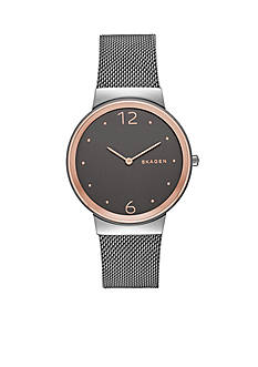 Skagen Women's Freja Grey Mesh and Rose Gold-Tone Two Hand Watch