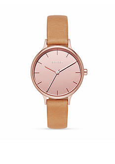 Skagen Women's Anita Rose Gold-Tone Leather with Mirror Dial Watch