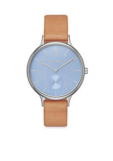 Skagen Women's Anita Stainless Steel and Leather Blue Dial Watch