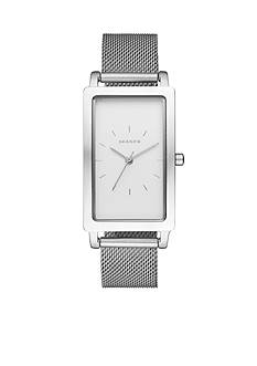 Skagen Women's Hagen Silver-Tone Stainless Steel Mesh Three-Hand Rectangular Watch