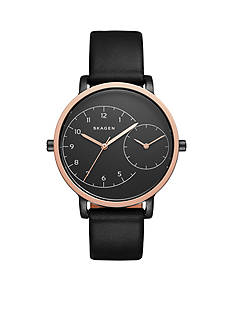 Skagen Women's Hagen Dual-Time Leather Watch
