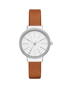 Skagen Women's Anchor Light Brown Leather Watch