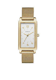 Skagen Women's Hagen Gold-Tone Rectangular Steel-Mesh Watch