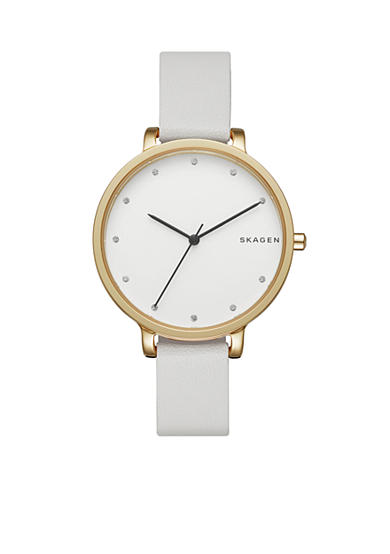 Skagen Women's Hagen White Leather Watch