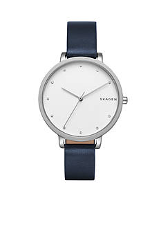 Skagen Women's Hagen Blue Leather Watch