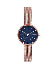 Skagen Women's Rose Gold-Tone Signature Steel-Mesh Watch