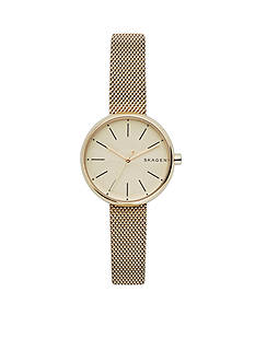 Fossil Women's Gold-Tone Signature Steel-Mesh Watch