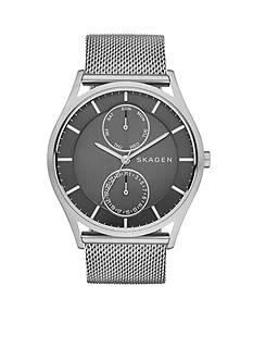 Skagen Holst Silver Mesh Gray Multifunction Dial Watch