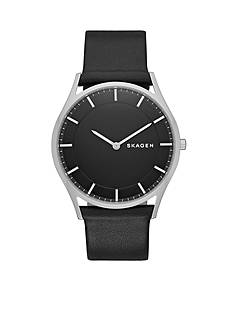 Skagen Mens Holst Black Leather Two Hand Watch