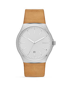 Skagen Men's Sunby Stainless Steel and Natural Leather Watch
