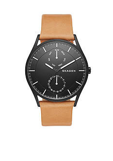 Skagen Men's Holst Multifunction Black Case With Brown Leather Band Watch