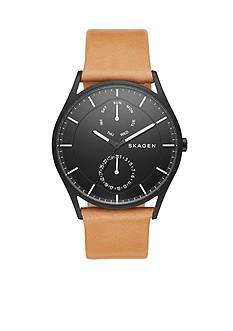 Skagen Men's Holst Multifunction Black Case With Brown Leather Band Watch