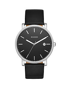 Skagen Men's Hagen Black Leather Three-Hand Watch