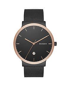 Skagen Men's Ancher Black-Tone Stainless Steel Mesh Watch