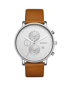 Skagen Men's Hagen World Time and Alarm Light Brown Leather Watch