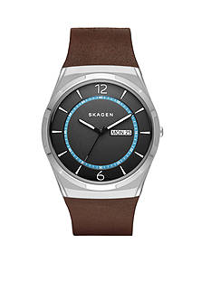 Skagen Men's Melbye Titanium & Leather Watch